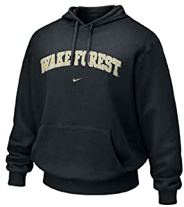 Wake Forest Demon Deacons Black Embroidered Hooded Sweatshirt By Nike Team Sports by Nike