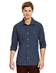 North Coast Pure Cotton Slim Fit Spotted Denim Shirt