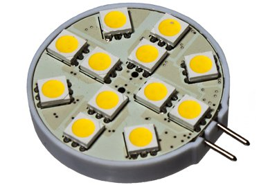 Cbconcept® 2Xledg412Smd-Ww+C Led Disc Type G4 Base Lamp Side Pin With 12 High Power 5050Smd Leds,With Cover, 12 Volt, Jc G4 Bi-Pin Bulb Replacement For Rv Camper Trailer Boat Marine,1.44 Watt 150 Lumen - Warm White Color (3000K) - 2 Bulbs