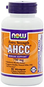 NOW Foods AHCC 750mg Xtra Strength, 60 Vcaps