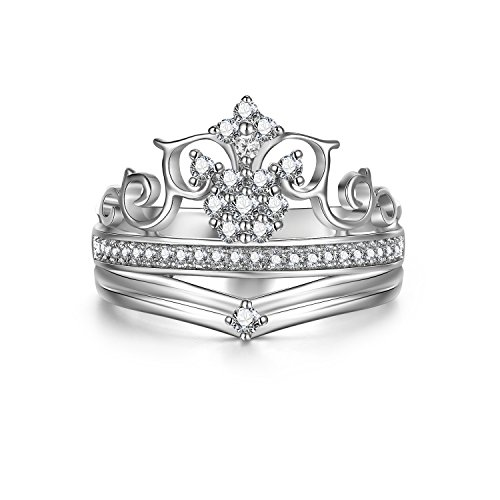 Adan Banfi Women 925 Sterling Silver Ring Princess Crown Proposal Statement Ring (Initials Ring compare prices)