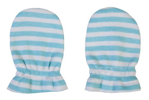 Funkoos Organic Cotton Mittens (Blue Stripes) For Newborn Baby Infant Boy