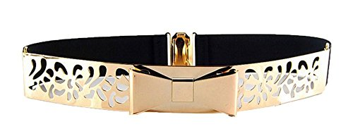 Luckysky Women Fashion Gold Metal Keeper Metallic Big Mirror Bow Wide Obi Belts(model E)