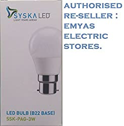 Syska Led Bulb 3W B22 6500K Cool Day Light, Crystal White [Pack Of One]