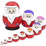 Cute Creative Santa Claus With Colorful Hats Handmade Wooden Matryoshka Dolls Russian Nesting Dolls Set 10 Pieces For Kids Toy Birthday Christmas Gift Home Decoration