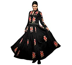 OMSAI FASHION Women's black Georgette Embroidery semi stitched Free Size Salwar Suit Dress Material (Women's Honey Black Indian Clothing )