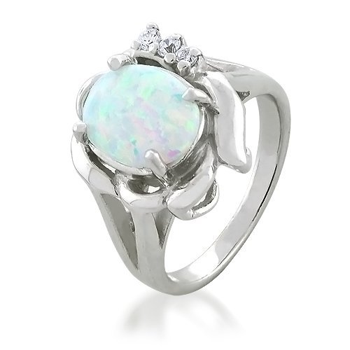 Bling Jewelry Vintage CZ Sterling Silver Opal Engagement Ring - Size 7