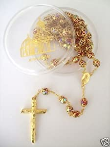 24k Gold Plated RED Crystal Beads Double Cap Rosary Necklace Crucifix