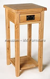 Solid Oak Tall Slim Compact Small Telephone Lamp