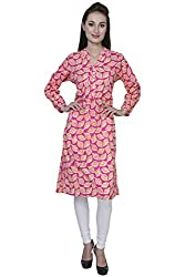 Blueberii Casual Printed Pink 3/4th Sleeve Women Kurti - Medium