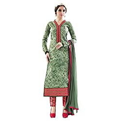 radhika pure cotton green Embroidered stylish Dress Material