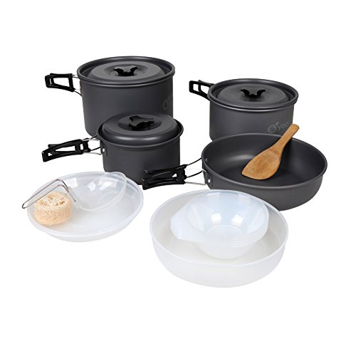Yodo Anodized Aluminum Camping Cookware Set Backpacking Pot Mess Kit for 4-5 Person (Camping Cookware 2 Person compare prices)
