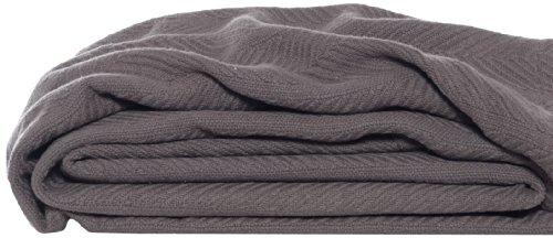 Eddie Bauer 200611 Herringbone Cotton Blanket, King, Mushroom