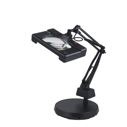 Electrix 7452 BLK Wide View Magnifier Lamp, Fluorescent, 3-Diopter, Weighted Base Mounting, 30