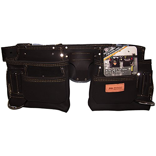 """McGuire-Nicholas 10-Pocket Contractor Tool Belt Apron, 28""""-50"""", Oil Tanned Leather"""