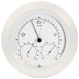 Weather Station - Analog - Barometer - Thermometer - Hygrometer - 8 in. Round - White