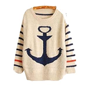 Women'S Large Anchor Pattern Striped Long-Sleeved Neck Sweater