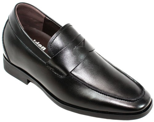 Calden - K282013 - 2.6 Inches Taller - Size 9 D Us - Height Increasing Elevator Shoes (Black Leather Slip-On Dress Shoes)