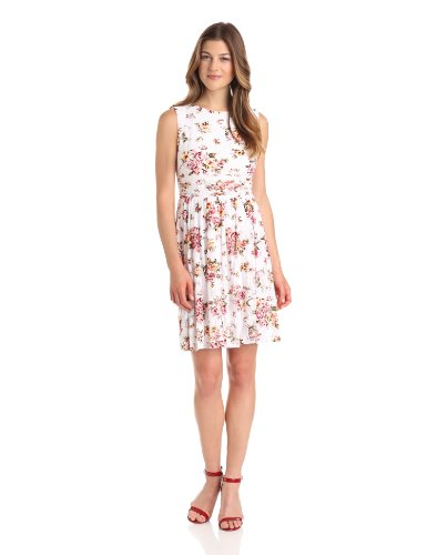Jessica Howard Women's Fit And Flare Print Dress, White, 6