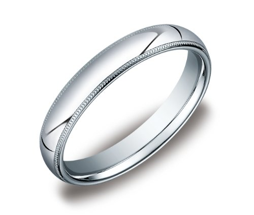 Men's 4mm 10k White Gold Comfort Fit Band with Milgrain Size 12.5