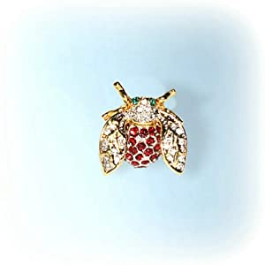 Bumblebee Pin Brooch Green White Amber Swarovski Crystals Bee Broach Jewelry Limited Edition Collectible
