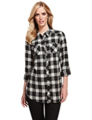 M&S Collection Pure Cotton Flannel Checked Longline Shirt