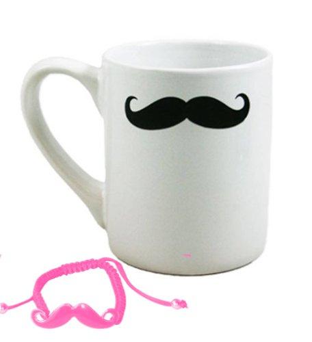 Best Ceramic Mustache Coffee Tea Mug Gift Set Teachers Women Teenager Mom Stocking Stuffer Gift Idea With Mustache Bracelet Makes The Best Christmas Gift Ideas For Women. Guaranteed To Please. (Style 11)