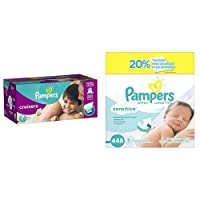 Pampers Cruisers Diapers, Economy Plus Pack, Size 7, 92 Count and Pampers Sensitive Wipes, 7x Box, 448 Count Bundle