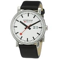 [モンディーン]MONDAINE 腕時計 エヴォ ビッグサイズ ホワイト文字盤 ブラックレザーストラップ A627.30303.11SBB メンズ [正規輸入品]