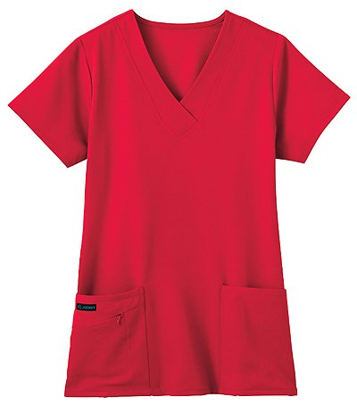 Classic Fit Collection by Jockey Scrubs Women's Tri Blend Solid Scrub Top XXX-Large Red