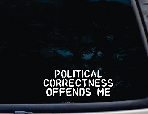 "Political Correctness Offends Me - 8"" x 3"" die cut vinyl decal for window, car, truck, tool box - virtually any hard, smooth surface"
