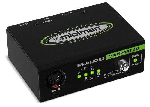 M-Audio MIDISPORT 2x2 Anniversary Edition | 2-in/2-out MIDI Interface (32x32 discrete channels I/O via USB) (Mixer Usb M Audio compare prices)