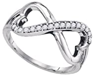 0.15 cttw 10k White Gold Diamond Round Brilliant Cut Double Heart Infinity Promise Ring (Sizes 4-9)
