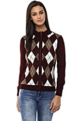 Annabelle by Pantaloons Women's Polo Neck Sweater (205000005619473, Red, Large)