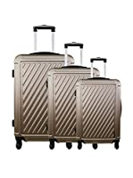 ZIFEL Set de 3 trolleys rígidos (Taupe)