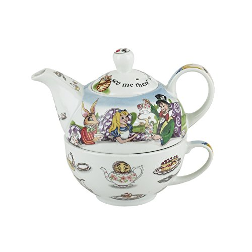 Cardew Alice in Wonderland Porcelain Tea Set with 470ml Pot and 300ml Cup, Service for 1