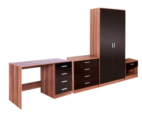 Black Gloss & Walnut 4 Piece Trio Bedroom Set | Wardrobe | Chest Of Drawers | Bedside Cabinet | Dressing Table Study Desk