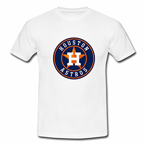 Custom Men Houston Astros Team Logo Top Tees Shirt XXLarge White