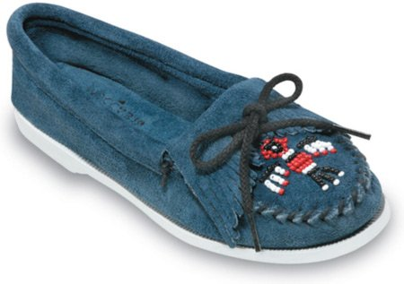 Minnetonka Women's Thunderbird Moccasin,Storm Blue Suede,8 M US