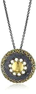 """Stella Flame """"Byzantia"""" 24K Gold Hammered Pendant Necklace"""