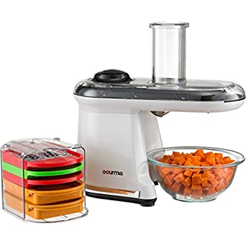 Gourmia GMS100 Power Dicer Plus Multi-Purpose 5 in 1 Electric Mandoline Food Dicer Chopper Slicer Grater and Shredder - Includes 5 Blades