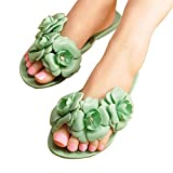 Maybest Women SummerThree-Dimensional Camellias Flowers Flip Flop Jelly Sandals Flat Slippers Green 5 B(M) US
