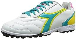 Diadora Women\'s Capitano LT Soccer Turf Shoes, White/Teal, 6.5 M US