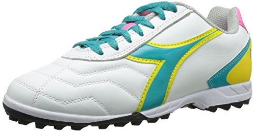 Diadora Women's Capitano LT Soccer Turf Shoes, White/Teal, 7.5 M US