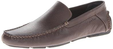 Calvin Klein Men's Miguel Tumbled Leather Slip-On Loafer,Dark Brown,9.5 M US