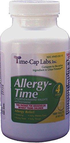 Allergy-Time Chlorpheniramine Maleate 4mgGeneric for Chlor-Trimeton Allergy 1000 Tablets per Bottle (Chlorpheniramine 1000 compare prices)