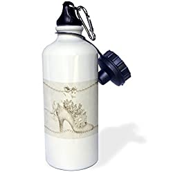 3dRose wb_164747_1 Vintage Wedding Shoes for The Bride with Pearls Sports Water Bottle, 21 oz, White