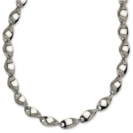 Black Bow Jewellery Company : Stainless Steel Polished Twisted Link Necklace - 20 Inches
