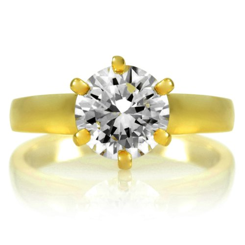 Melanie's Signity CZ Engagement Ring - Round Cut Gold Plated 2ct