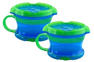 Munchkin Click LockDeluxe Snack Catcher, Blue/Green, 2-Count